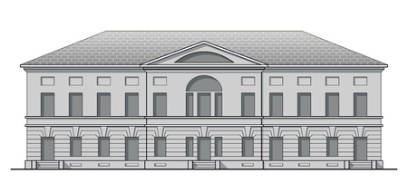 Grayscale classic facade of antique building. Historic house in linear style