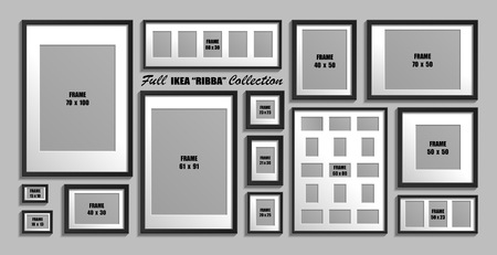 Full collection of   photo frames. Real sizes. Vector set of black picture frames with white passepartout. Illustration