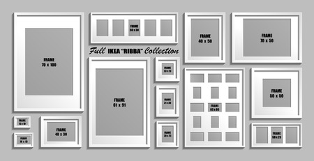 Full collection of  photo frames. Real sizes. Vector set of white picture frames with passepartout