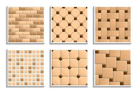 Set of seamless floor and wall tiles textures. Vector repeated patterns of mosaic, subway, brick, hopscotch, octagon, dot, basketweave