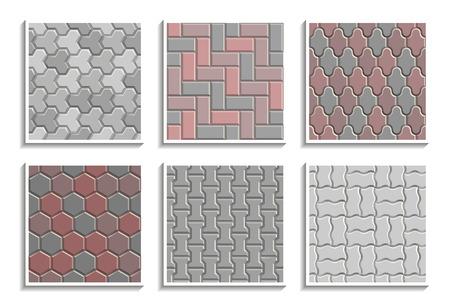 Set of seamless pavement textures. Vector repeating patterns of street tiles Ilustração Vetorial