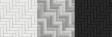 Black and white seamless textures of herringbone tiles. Set of vector grayscale paving floor Çizim