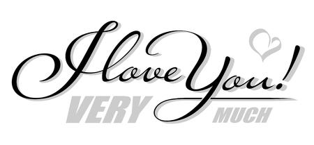 Testo isolato scritto a mano ti amo con l'ombra del cuore. Lettere calligrafiche disegnate a mano