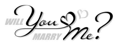 Handwritten isolated text Will You Marry Me with heart shape. Hand drawn calligraphy lettering You and Me with shadow 向量圖像