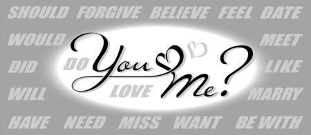 Handgezeichnete Kalligraphie-Schriftzug mit Kopienraum. Vektorkonstrukteur von Fragen: Liebst du mich? Willst du mich heiraten? Hast du mich vermisst?