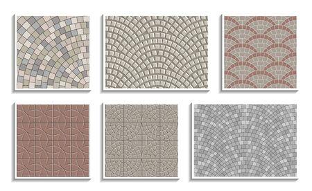 Zestaw tekstur bezszwowe okrągły chodnik. Wektor powtarzające się wzory promieniowego materiału kamiennego