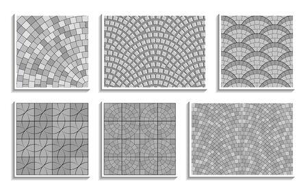 Set di texture di pavimentazione rotonda senza giunte in scala di grigi. Modelli ripetuti vettoriali di materiale lapideo radiale Vettoriali