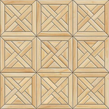 Seamless texture of mosaic wooden parquet. High resolution pattern of light wood material