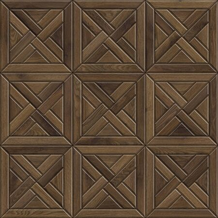 Seamless texture of mosaic wooden parquet. High resolution pattern of dark wood material
