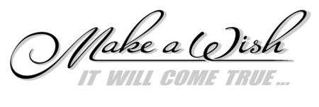 Underscore handwritten text Make a Wish with copy space. Hand drawn calligraphy lettering It Will Come True with shadow