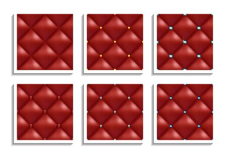 Seamless vector patterns of red leather upholstery with gold, silver, diamond buttons. Luxury textures of vintage furniture Illustration