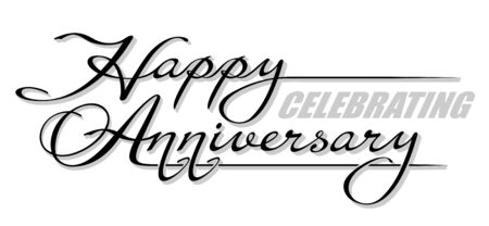 Underscore handwritten text Happy Celebrating Anniversary with shadow. Hand drawn calligraphy lettering