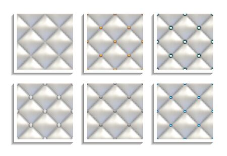 Seamless vector patterns of white leather upholstery with gold, gray, silver, diamond buttons. Luxury textures of vintage furniture
