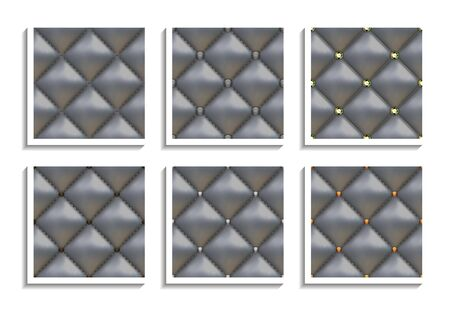 Seamless vector patterns of gray leather upholstery with gold, silver, diamond buttons. Luxury textures of vintage furniture