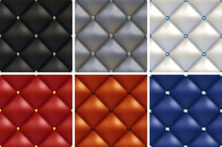 Luxury set of black, white, gray, brown, red, blue patterns of vintage furniture upholstery with different buttons. Seamless textures of leather furniture background Zdjęcie Seryjne