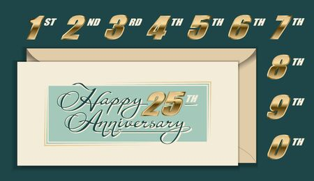 Happy Anniversary envelope, card with gold numbers and calligraphy lettering