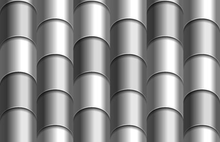 Seamless texture of gray roof top background. Repeating gray pattern of silver metal tube roof tiles Zdjęcie Seryjne