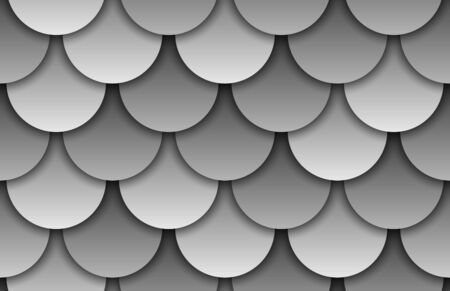 Seamless texture of grey roof top background. Repeating gray pattern of silver fish scales roof tiles