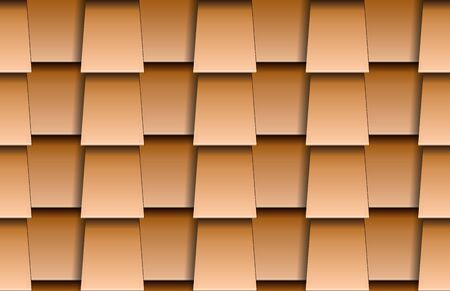 Seamless texture of beige shingles rooftop background. Repeating pattern of trapeze wooden roof tiles