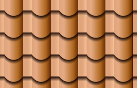 Seamless texture of ceramic waves roof top background. Repeating pattern of traditional beige clay roof tiles Zdjęcie Seryjne