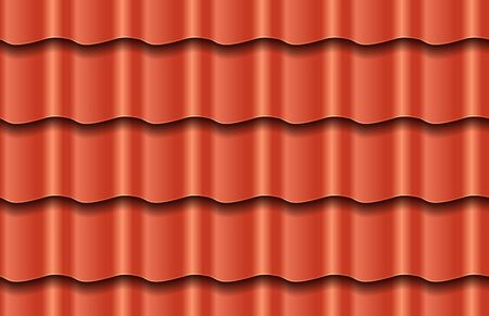 Seamless texture of red waves roof top background. Repeating pattern of traditional ceramic roof tiles
