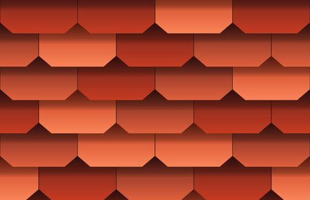 Seamless texture of soft shingles roof top background. Repeating pattern of traditional red roof tiles Zdjęcie Seryjne