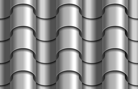 Seamless texture of gray corrugated waves roof top background. Repeating gray pattern of silver metal tube roof tiles Zdjęcie Seryjne