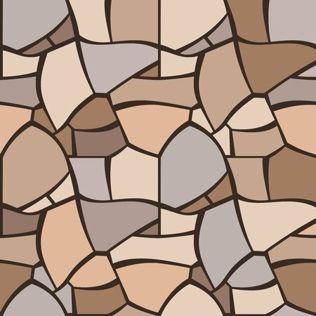 Seamless texture of beige cobble pavement. Repeating pattern of mosaic backround. Gray pebble stones wall