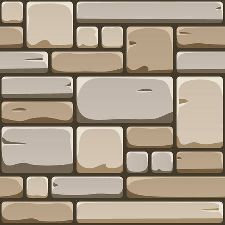 Seamless texture of cube rock wall. Repeating pattern of cobblestone pavement. Endless background of old brick surface