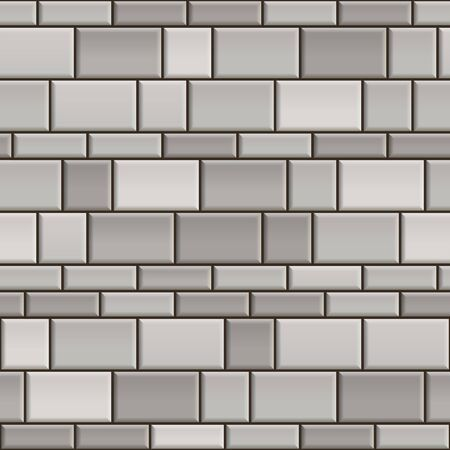 Seamless texture of grey and white brick wall. Repeating pattern of gray cube stone with black seams background