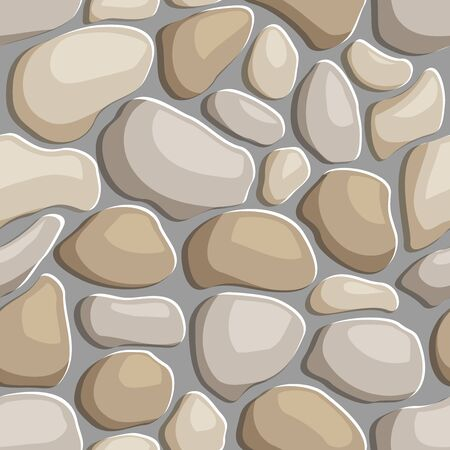 Seamless texture of pebble stone pavement. Repeating pattern of sea smooth rocks background