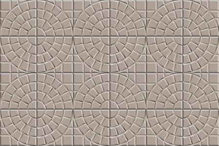 3D seamless texture of circle squared floor tiles. Repeating beige pattern of radial stone pavement