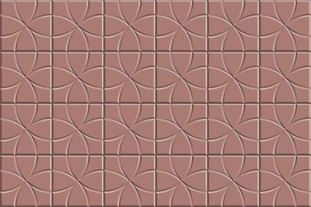 3D seamless texture of circle squared floor tiles. Repeating red pattern of radial stone pavement