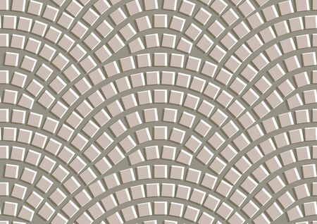 Seamless beige texture of radial street pavement. Repeating circle pattern of cobble stone background