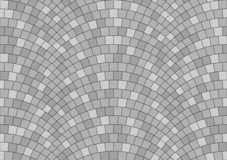 Seamless gray texture of radial street pavement. Repeating circle pattern of grey cobble stone background Zdjęcie Seryjne