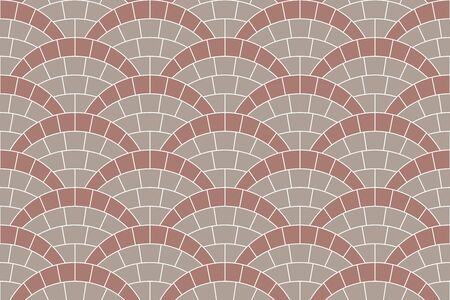 Seamless texture of circle street tiles pavement. Repeating pattern of radial mosaic background