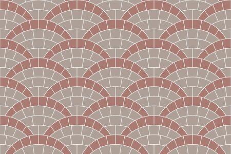 Textura fluida del pavimento de azulejos de la calle del círculo. Patrón de repetición de fondo de mosaico radial