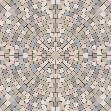 Seamless texture of round pavement. Repeating circle pattern of radial cobble stone background Zdjęcie Seryjne
