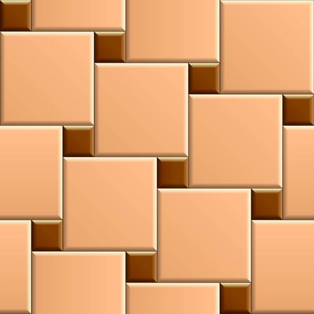 Seamless pattern of beige square patio floor with brown dots. 3D repeating background with diagonal pattern tiles