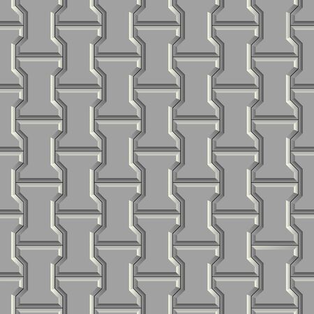 Seamless pattern of gray concrete pavement. 3D repeating pattern of street paving tiles