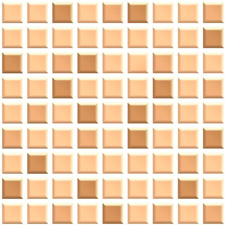 Seamless texture of beige ceramic tiles. 3D repeating pattern of square mosaic wall