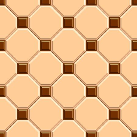 Seamless texture of beige rhombus floor tiles with brown square dots . 3D repeating pattern of ceramic pavement