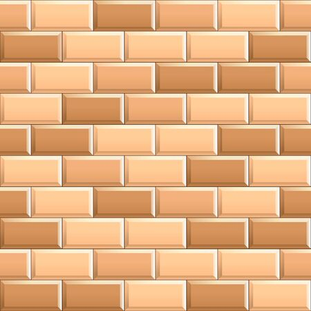 Seamless texture of ceramic subway, metro tiles. 3D repeating pattern of beige brick background