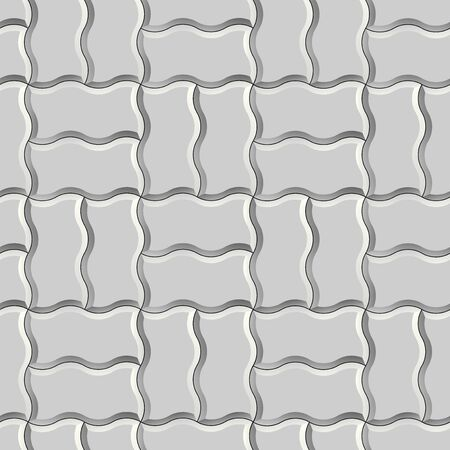 Seamless texture of gray concrete pavement tiles. 3D repeating pattern of wave tiles Zdjęcie Seryjne