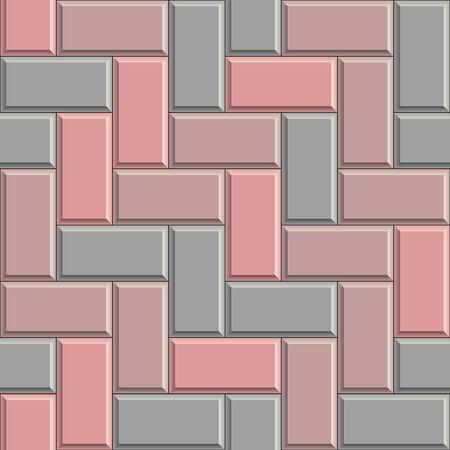 Seamless texture of gray concrete rectangular pavement bricks. 3D repeating pattern of herringbone street tiles