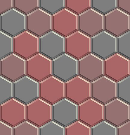 Seamless texture of hexagon concrete street tiles. 3D repeating pattern of red and gray honeycomb pavement stones Zdjęcie Seryjne