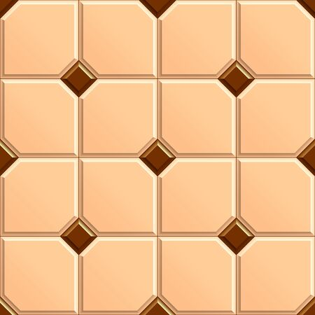 Seamless texture of square beige floor with rhombus brown tiles. 3D repeating pattern of ceramic tiles