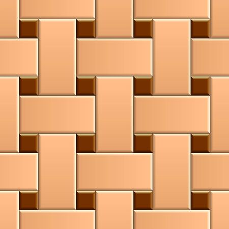 Seamless pattern of basket weave ceramic tiles. 3D repeating pattern of beige floor with brown dots