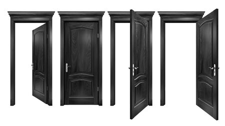 Open and closed black doors with arched panels, cornice, columns. Textured wooden doorways with silver trim, isolated on white Zdjęcie Seryjne