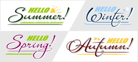 Vector set of calligraphic lettering text Hello Spring, Summer, Autumn, Winter. Handwritten isolated phrase 4 seasons holiday card
